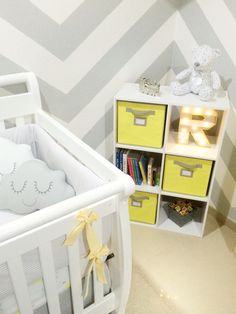 Baby boy nursery You are my sunshine theme; sun clouds rain chevron gray and yellow colors book case toy bins