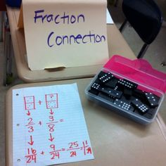 The Fraction Connection: A partner activity.... Each student chooses 2 dominoes. They then must use those numbers as their fractions to either add or subtract. It would also work to compare fractions. (Picture only)