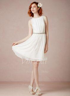 Brautkleider - $119.00 - A-Linie/Princess-Linie U-Ausschnitt Knielang Chiffon Brautkleid mit Rüschen Perlen verziert (0025058081)