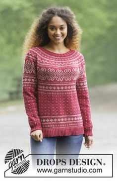 Knitted jumper with round yoke and multi-coloured Norwegian pattern, worked top down. Sizes S - XXXL. The piece is worked in DROPS Merino Extra Fine. Free pattern by DROPS Design. Jumper Patterns, Sweater Knitting Patterns, Knit Patterns, Clothing Patterns, Drops Design, Fair Isle Knitting, Free Knitting, Fair Isle Pattern, Pulls