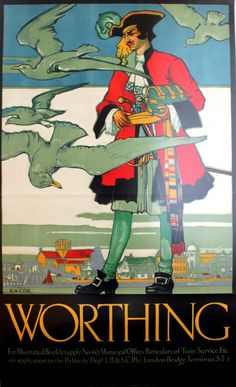 Worthing Southern Railway, 1922 - original vintage poster by Elijah Albert Cox… Posters Uk, Railway Posters, Art Deco Posters, Poster Ads, Cool Posters, Poster Prints, British Travel, Tourism Poster, Southern Railways