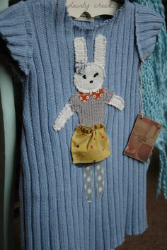 Blue upcycled sweater dress with little by DaintyCheeksBoutique