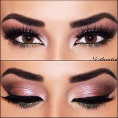 "Beautiful Brunette to outline the shape, filled in with Brow Powder in Dark Brown EYES: From my Lavish palette; ""Ballet"" all over lid with ""Pink Truffle"" in the outer corner and ""Moss"" along lower lash line."