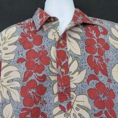 4d4d207d0 Vtg Ono & Co Liberty House Panel Red Blue Pullover Hawaiian Aloha Shirt  Reverse