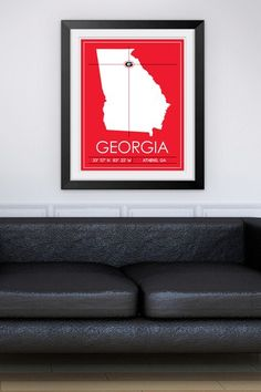"""University of Georgia Map Wall Art - 37"""" x 31"""" by Sports Collection on @HauteLook"""