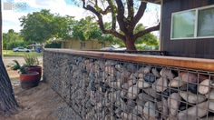 Custom Gabion wall for privacy and courtyard patio