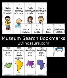 Free Museum Search Bookmarks For Kids - 34 bookmarks to use to find items in an art museum - 3Dinosaurs.com