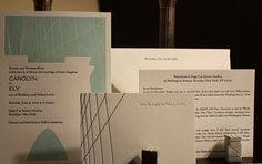 Custom letterpress printed in navy and turquoise inks on soft white paper by Postscript Brooklyn