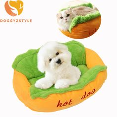 Funny Dog Cat Bed Pet Puppy Dog House Kennel Hot Dog Shaped For Small Dogs Warm Cushion Mat Soft Pet Sleeping Sofa DOGGYZSTYLE #Affiliate