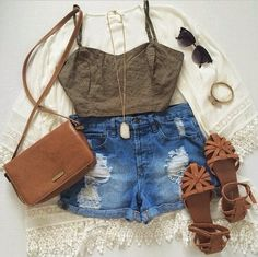 Gorgeous denim shorts with top khaki blouse and brown leather hand bag and brown stripes sandals and black goggles and braslate and necklace the best teenage fashion trend