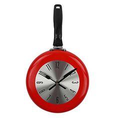 1PC High Quality Wall Clock Metal Frying Pan Design 8'' Clocks Kitchen Decoration Novelty Art Watch Horloge Murale Relogio