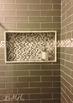 Glass subway tile shower, mosaic glass stone, built in shampoo niche, shower shelf, inset, border. BMH