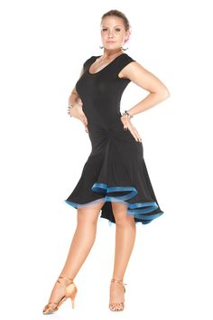 This dress is a perfect choice for any dance occasion. Flare skirt creates a great flow in dance motion. - Built-in underwear - Black stretch crepe fabric - 95% poly 5% spandex - Full skirt with blue