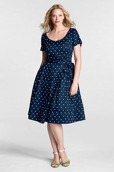 Women's Plus Size Short Sleeve Dot Sateen V-back Fit and Flare Dress from Lands' End - I LOVE THIS DRESS SO MUCH OMG