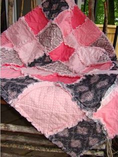Shabby Cottage Pink Baby Rag Quilt - Crib Size - Soft Pink, Coral, Gray, Grey, Easter, Photoprop. $124.00, via Etsy.