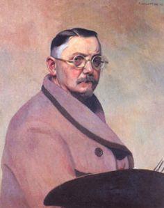 """Felix Vallotton : """" Autoportrait  la robe de chambre """" 1914  - (c) Musee des Beaux Arts  -  Lausanne"""
