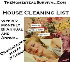 organize your cleaning schedule.