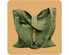 Tote Bag  Recycled Army Canvas by findersandkeepersnet on Etsy, $185.00