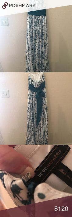 Gorgeous BCBGMaxAzria Strapless Dress Beautiful strapless chiffon white with green vine dress. This ties in front as shown  and zips in the back. Excellent condition! No trades BCBGMaxAzria Dresses Strapless