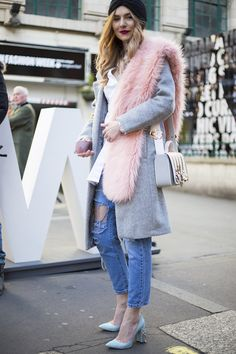 Pastel heels and oversized stoles in candy faux fur are the perfect addition to a casual denim look.  #Topshop #StreetStyle #LFW