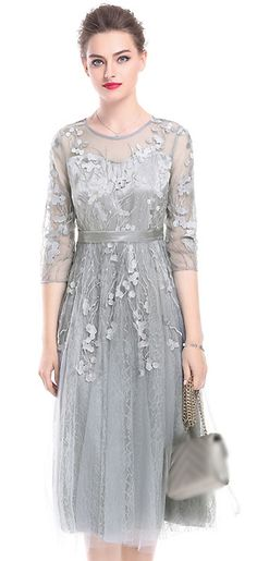 a0d39c1405 Party Embroidery O-Neck 3 4 Sleeve Mesh Skater Dress Women s Fashion Dresses