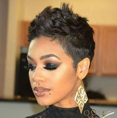 Sweet and Spicy Bacon Wrapped Chicken Tenders fancy hair Short short haircut styles for black hair - Black Haircut Styles My Hairstyle, Fancy Hairstyles, Pixie Hairstyles, Bouffant Hairstyles, Hairstyle Pictures, Wedding Hairstyles, Hairstyles 2018, Shaved Hairstyles, Black Women Short Hairstyles