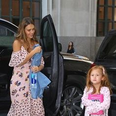 Jessica Alba shows off her baby bump while out with her daughters Honor and Haven in NY (346008)