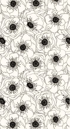 Black and white flowers #officetrends #inspiration #patterns