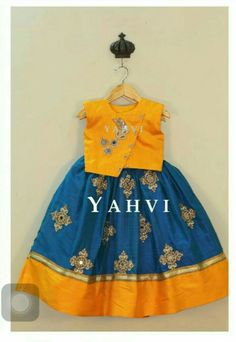 Unique colors that are different. Nice for Hailee. Colors not outfit. Kids Indian Wear, Kids Ethnic Wear, Baby Lehenga, Kids Lehenga, Frocks For Girls, Kids Frocks, Wedding Dresses For Girls, Little Girl Dresses, Kids Blouse Designs