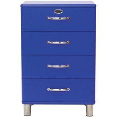 Kommode in Blau mit 4 Schubladen: Ordnung in modernem Design! Diese Kommode (B x H x T: ca. 60 x 92 x 41 cm) in Blau bietet viel Stauraum in angesagtem Retro-Look. Der Korpus besteht aus einer Faserplatte, die Füße sind aus Metall gefertigt. Die 4 Schubladen verfügen über geschwungene Bügelgriffe, ebenso aus Metall. Sorgen Sie mit dieser trendigen Kommode für Ordnung in Ihren vier Wänden!
