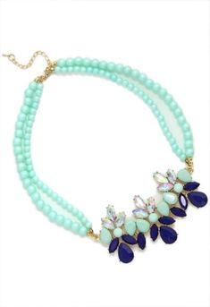 Mint Collage Pearl Bib Necklace by opal