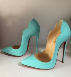 Blue/Turquoise Christian Louboutin Red Bottom Pointed Toe High Heels in Hot Chick