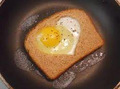 Egg in a heart basket.