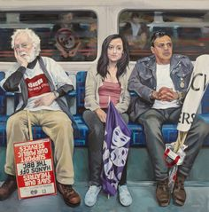 Artist Ewing Paddock& three-year project of painting people on the London Underground. Nostalgia, Journey, A Level Art, Painting People, London Underground, Gcse Art, Kawaii, London Art, Environmental Art