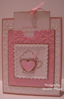 embossed snowflake card with hot chocolate and message pocket.