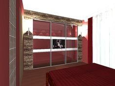 Modern stílusú hálószoba és gardrób lakberendezési variációk 3d Interior Design, Building, Modern, Room, Furniture, Tv, Home Decor, Bedroom, Trendy Tree