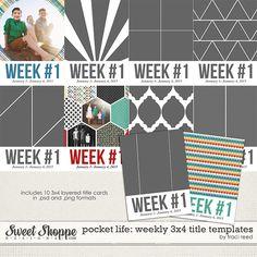 Pocket Life: 3x4 Weekly Title Templates by Traci Reed #digitalscrapbooking #digiscrap #pocketlife #pocketscrapbooking