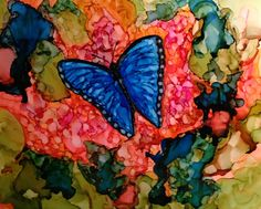 Butterfly 2 in alcohol ink by me, Laurie Henry.  Copyright 2013.
