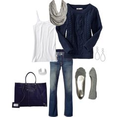 I know it is warm weather, but I saw this while looking at other outfits and had to pin it:) I bet all of us have a navy sweater in our closet!