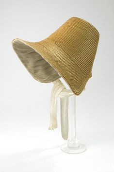 Bonnet | V Search the Collections 1830-40 Braided straw with net satin silk and glazed cotton