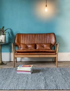 Mid Century Leather Sofa by Rose & Grey