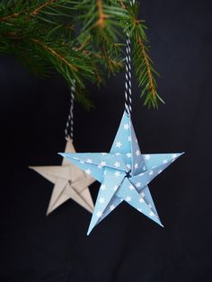 2. luukku / Tähtijoulukortit - Pientä kivaa Diy Christmas Cards, Christmas Ornaments, Origami, Holiday Decor, How To Make, Crafts, Crafting, Handmade Crafts, Christmas Baubles