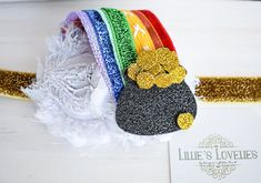 ~*Pot O' Gold*~ St. Patrick's Day Headband or Clip, Rainbow Pot of Gold www.lillieslovelies.com Use LLFAN4 for a discount