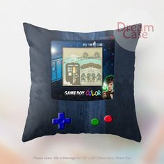retro tardis doctor who nintendo gameboy - Pillow Case 18 x 18 - Note for 16 inch
