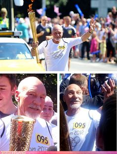 Actor Patrick Stewart, best known as Captain Jean-Luc Picard in ''Star Trek: The Next Generation,'' took a turn on the torch relay Monday.