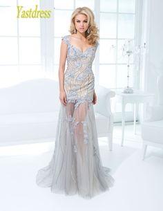 Elegant Prom Dress · 2015 Newest A-Line Glamorous Enticing Tantalizing  Floor Length Sheer Train V Neck Appliques Beading · Evening Dresses ... e3e701c2234e