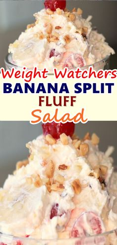 This Banana Split Fluff Salad is an easy ambrosia salad that is loaded with all your favorite banana split toppings. Stir everything into one bowl, and it is ready to go. Skinny Recipes, Ww Recipes, Cooking Recipes, Snacks Recipes, Tofu Recipes, Waffle Recipes, Pudding Recipes, Burger Recipes, Candy Recipes