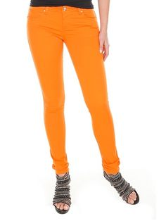 bright style :)  Tripp Skinny Jeans in Orange, $29.  hottopic.com