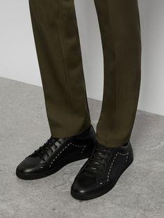 dc6882f840d FENDI Face-embellished low-top leather trainers €695 Baskets En Cuir