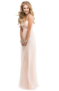 Chiffon Babydoll Dress with a Jeweled Strap & Embellished Bust | FLIRT #pink #pastel #prom